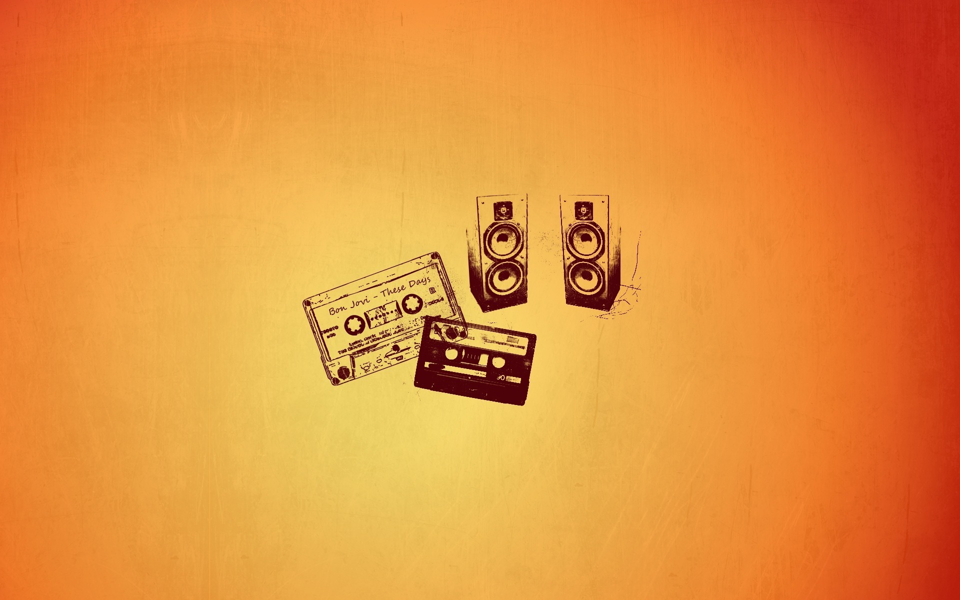 two cassette two speakers with orange background 3d gaming hd wallpapers 1920 x 1200